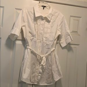 Tunic length white blouse